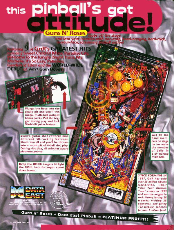 Guns 'N Roses Pinballl Flyer