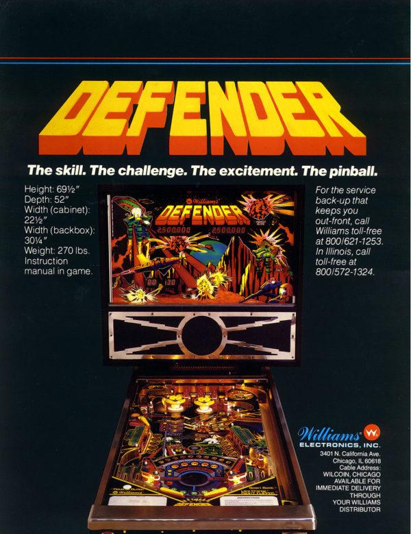 Defender Pinball Flyer Back