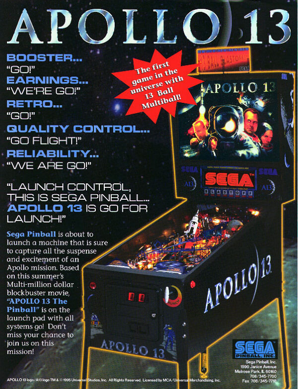 Apollo 13 Pinball Flyer