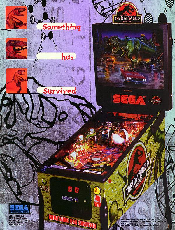 Jurassic Park Lost World Pinball Flyer