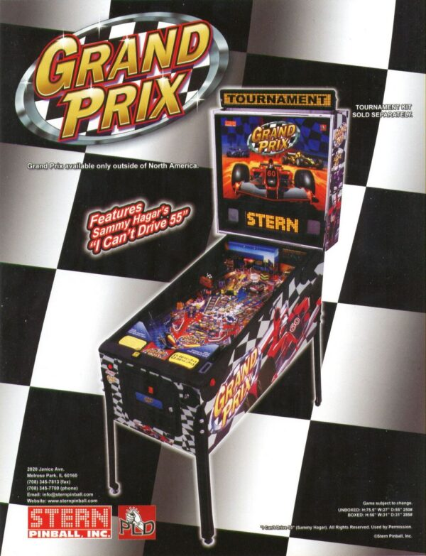 Grand Prix Pinball Flyer