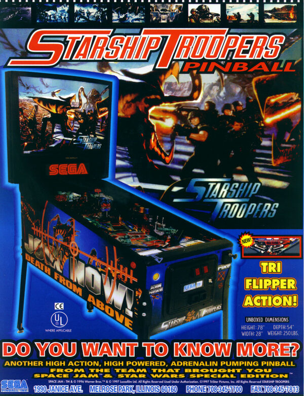starship troopers pinball flyer